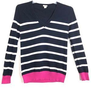 J.Crew Striped V-Neck Sweater Size Medium